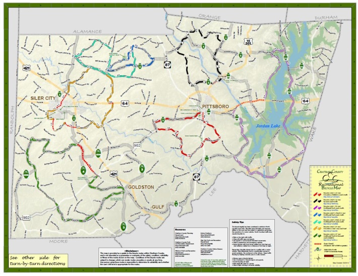 Recreational Bike Loop Map Chatham County Nc