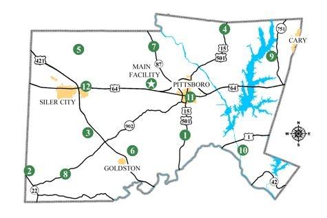 map of 12 county collection center sites
