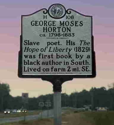 highway marker on US 15/501 commemorating George Moses Horton