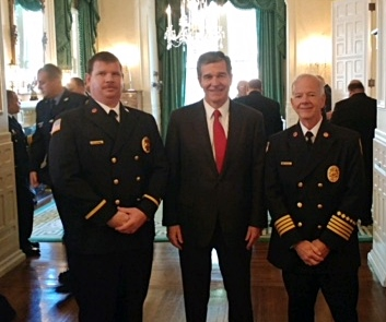 Governor Cooper with North Chatham fire department leaders